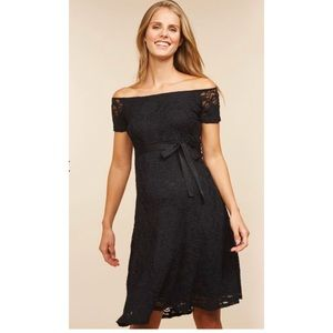 Off The Shoulder Black Lace Maternity Dress NWT